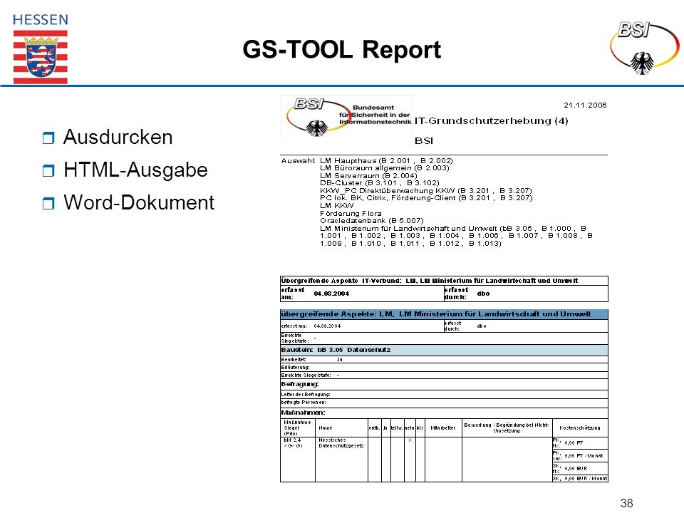 38 GS-TOOL Report  Ausdurcken  HTML-Ausgabe  Word-Dokument