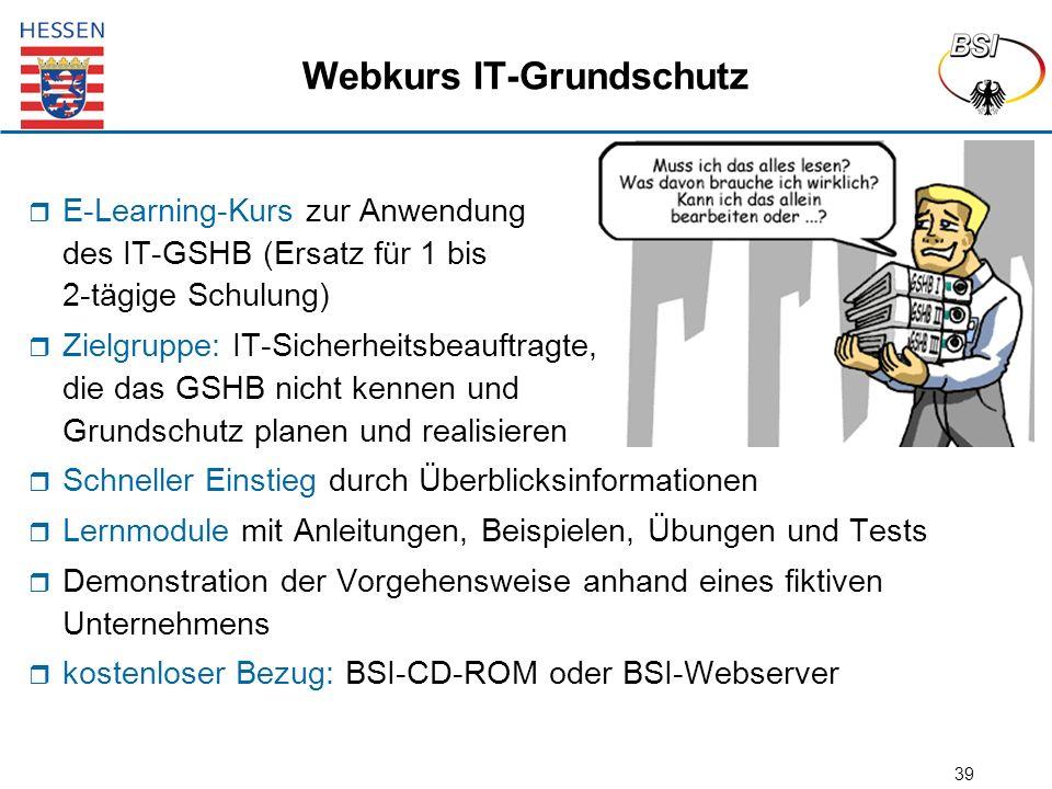 39 Webkurs IT-Grundschutz  E-Learning-Kurs zur Anwendung des IT-GSHB (Ersatz für 1 bis 2-tägige Schulung)  Zielgruppe: IT-Sicherheitsbeauftragte, di