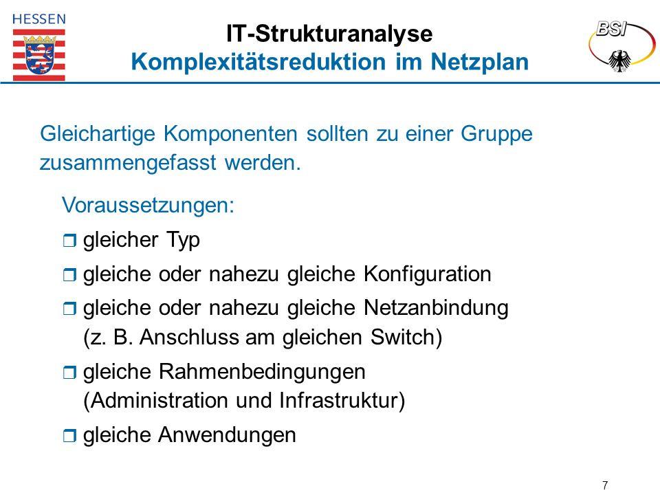 7 IT-Strukturanalyse Komplexitätsreduktion im Netzplan Gleichartige Komponenten sollten zu einer Gruppe zusammengefasst werden. Voraussetzungen:  gle
