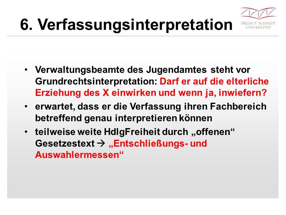 6. Verfassungsinterpretation Verwaltungsbeamte des Jugendamtes steht vor Grundrechtsinterpretation: Darf er auf die elterliche Erziehung des X einwirk