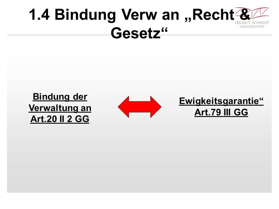 """1.4 Bindung Verw an """"Recht & Gesetz"""" Bindung der Verwaltung an Art.20 II 2 GG Ewigkeitsgarantie"""" Art.79 III GG"""