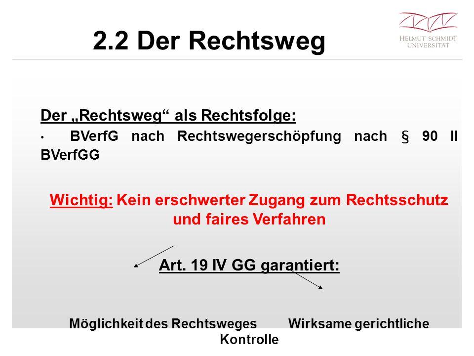 """2.2 Der Rechtsweg Der """"Rechtsweg"""" als Rechtsfolge: BVerfG nach Rechtswegerschöpfung nach § 90 II BVerfGG Wichtig: Kein erschwerter Zugang zum Rechtssc"""