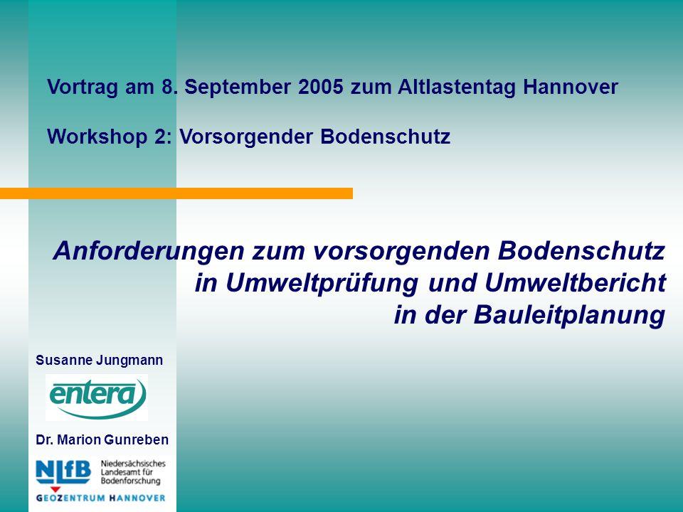 Anforderungen zum vorsorgenden Bodenschutz in Umweltprüfung und Umweltbericht in der Bauleitplanung Susanne Jungmann Dr.