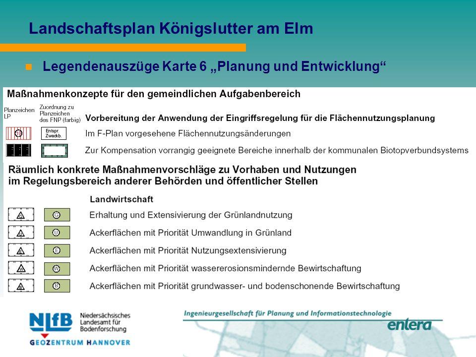 """Landschaftsplan Königslutter am Elm Legendenauszüge Karte 6 """"Planung und Entwicklung"""