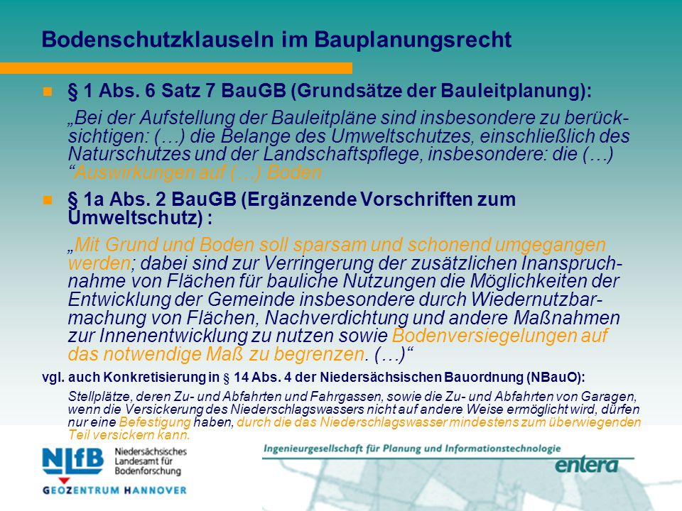 Bodenschutzklauseln im Bauplanungsrecht § 1 Abs.