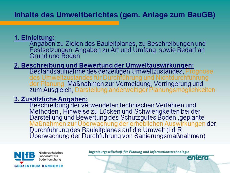 Inhalte des Umweltberichtes (gem. Anlage zum BauGB) 1.