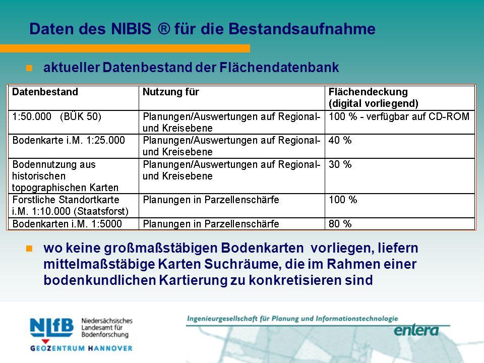 Daten des NIBIS ® für die Bestandsaufnahme aktueller Datenbestand der Flächendatenbank wo keine großmaßstäbigen Bodenkarten vorliegen, liefern mittelmaßstäbige Karten Suchräume, die im Rahmen einer bodenkundlichen Kartierung zu konkretisieren sind