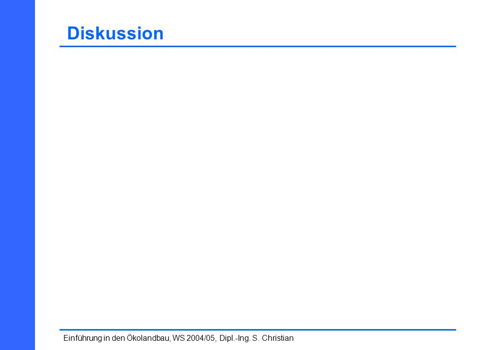 Einführung in den Ökolandbau, WS 2004/05, Dipl.-Ing. S. Christian Diskussion