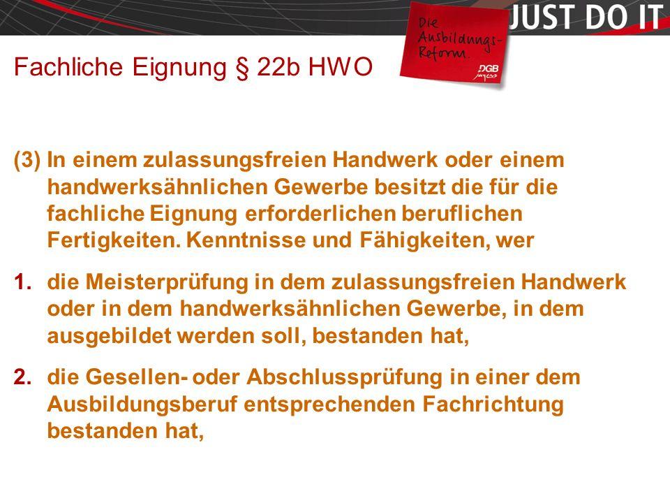 Seite 17 Fachliche Eignung § 22b HWO (3) In einem zulassungsfreien Handwerk oder einem handwerksähnlichen Gewerbe besitzt die für die fachliche Eignung erforderlichen beruflichen Fertigkeiten.