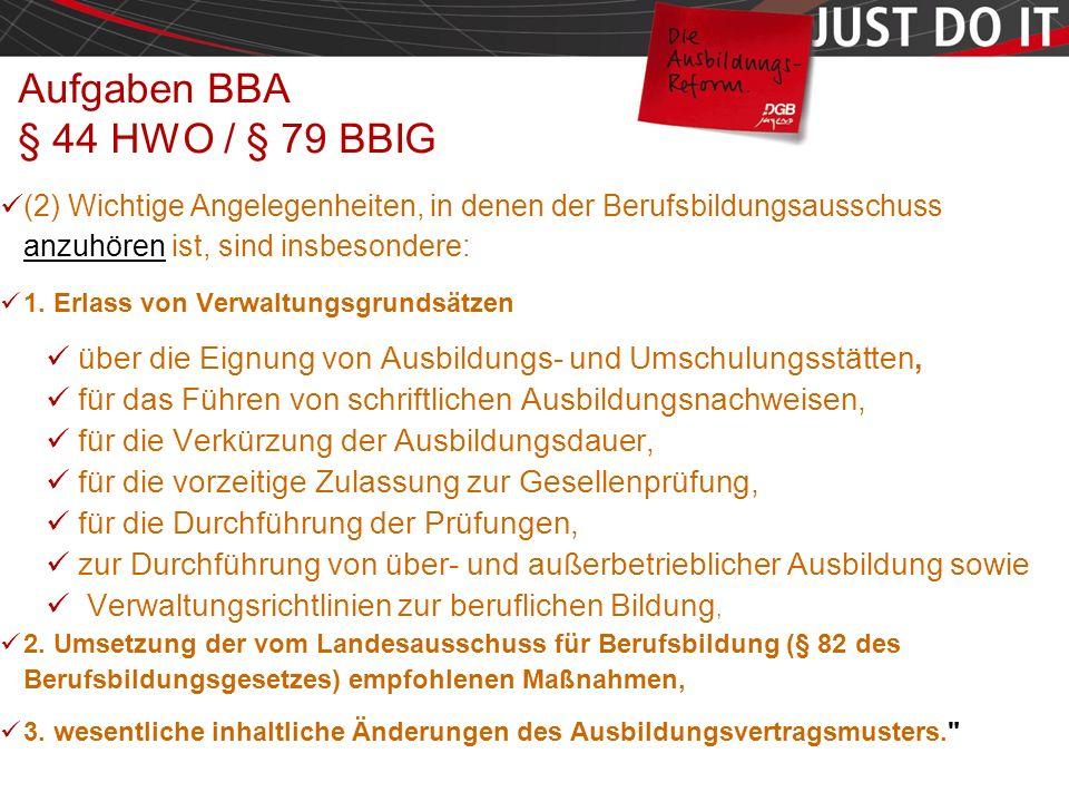 Seite 39 Aufgaben BBA § 44 HWO / § 79 BBIG (2) Wichtige Angelegenheiten, in denen der Berufsbildungsausschuss anzuhören ist, sind insbesondere: 1.