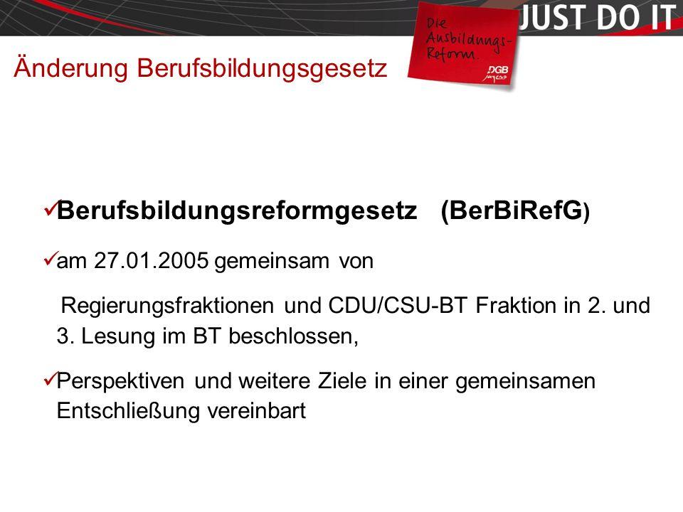 Seite 4 Änderung Berufsbildungsgesetz Berufsbildungsreformgesetz (BerBiRefG ) am 27.01.2005 gemeinsam von Regierungsfraktionen und CDU/CSU-BT Fraktion in 2.