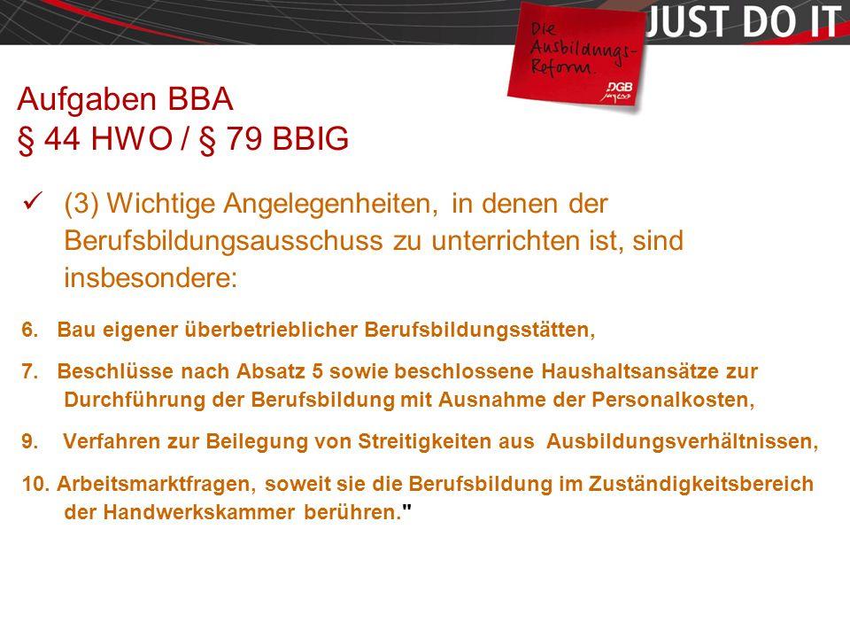 Seite 41 Aufgaben BBA § 44 HWO / § 79 BBIG (3) Wichtige Angelegenheiten, in denen der Berufsbildungsausschuss zu unterrichten ist, sind insbesondere: 6.