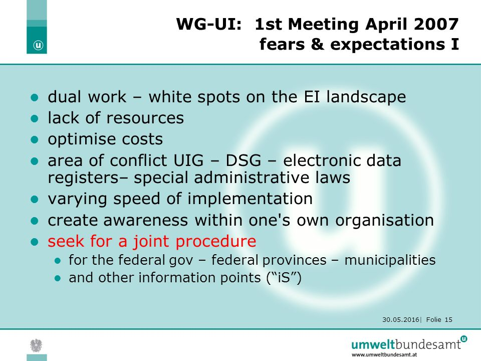 30.05.2016| Folie 15 WG-UI: 1st Meeting April 2007 fears & expectations I dual work – white spots on the EI landscape lack of resources optimise costs area of conflict UIG – DSG – electronic data registers– special administrative laws varying speed of implementation create awareness within one s own organisation seek for a joint procedure for the federal gov – federal provinces – municipalities and other information points ( iS )