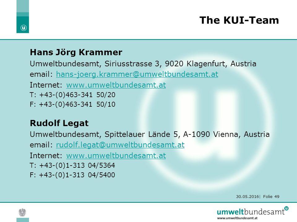 30.05.2016| Folie 49 The KUI-Team Hans Jörg Krammer Umweltbundesamt, Siriusstrasse 3, 9020 Klagenfurt, Austria email: hans-joerg.krammer@umweltbundesamt.athans-joerg.krammer@umweltbundesamt.at Internet: www.umweltbundesamt.atwww.umweltbundesamt.at T: +43-(0)463-341 50/20 F: +43-(0)463-341 50/10 Rudolf Legat Umweltbundesamt, Spittelauer Lände 5, A-1090 Vienna, Austria email: rudolf.legat@umweltbundesamt.atrudolf.legat@umweltbundesamt.at Internet: www.umweltbundesamt.atwww.umweltbundesamt.at T: +43-(0)1-313 04/5364 F: +43-(0)1-313 04/5400