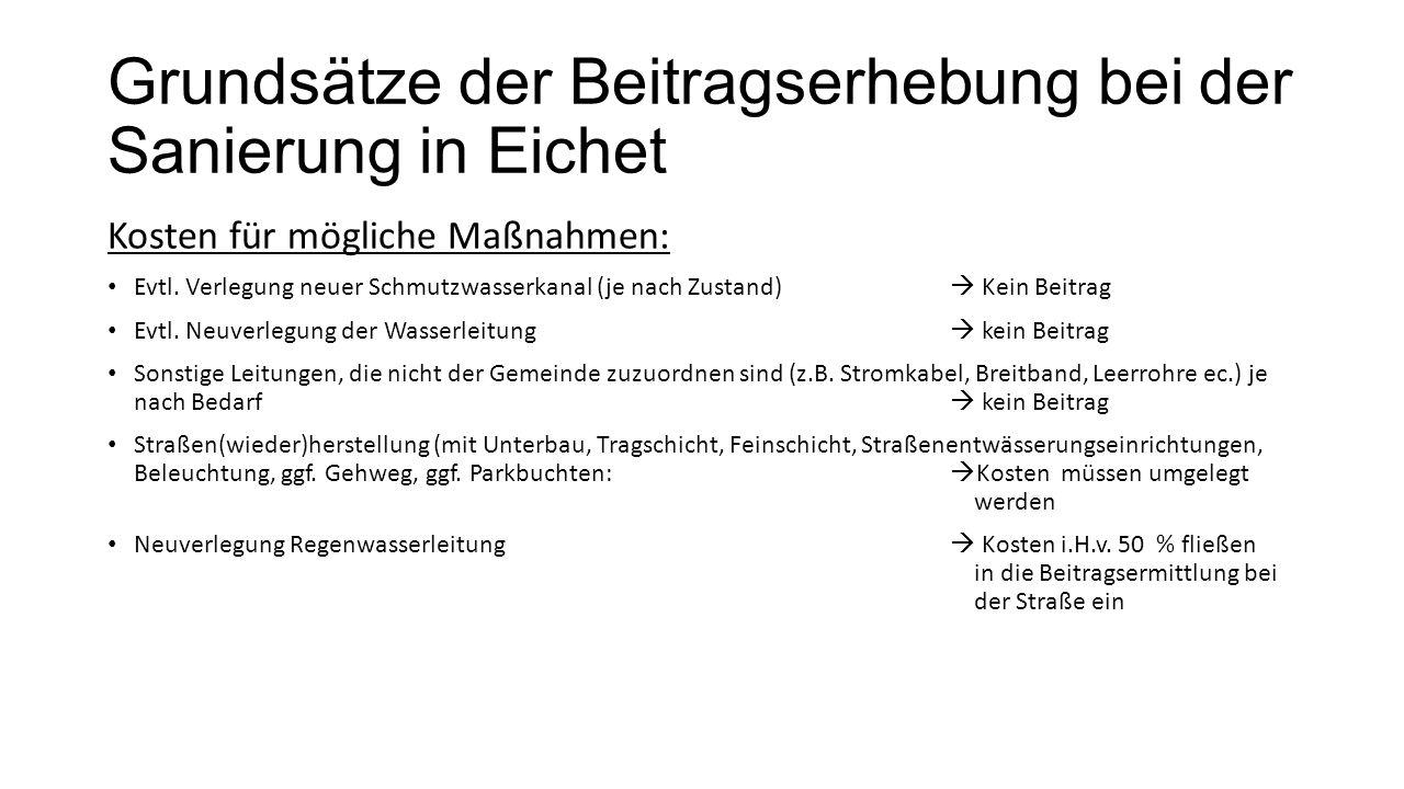 Grundsätze der Beitragserhebung bei der Sanierung in Eichet Kosten für mögliche Maßnahmen: Evtl. Verlegung neuer Schmutzwasserkanal (je nach Zustand)