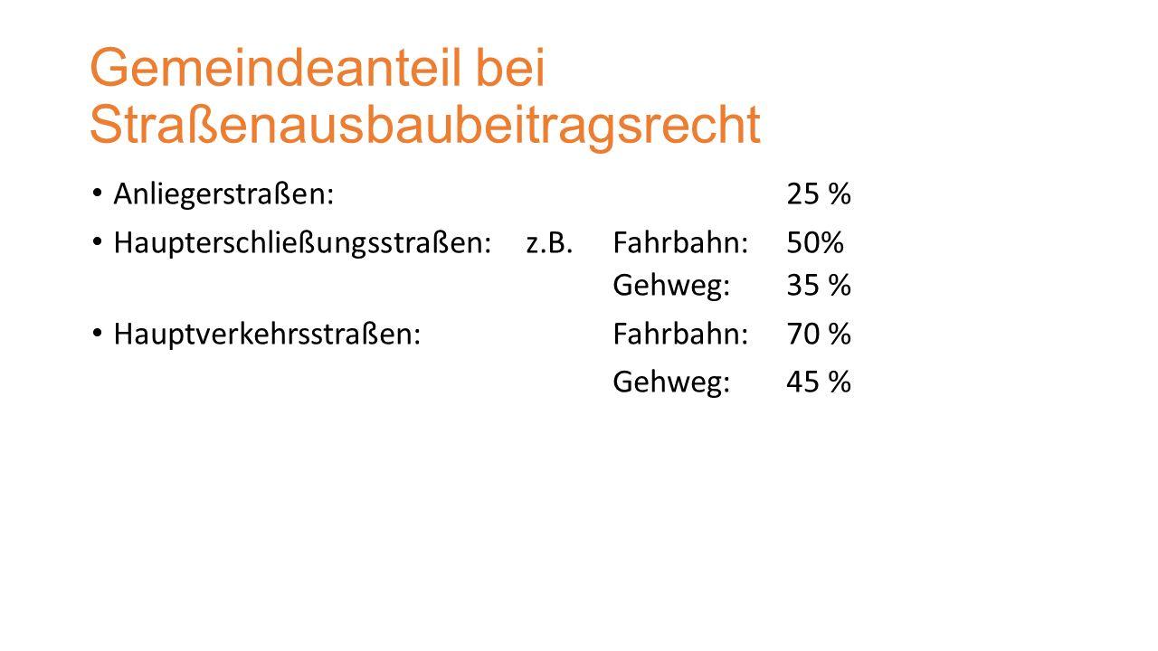 Gemeindeanteil bei Straßenausbaubeitragsrecht Anliegerstraßen:25 % Haupterschließungsstraßen:z.B.