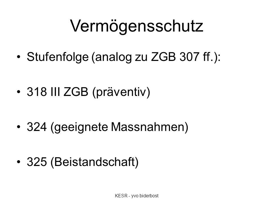 Vermögensschutz Stufenfolge (analog zu ZGB 307 ff.): 318 III ZGB (präventiv) 324 (geeignete Massnahmen) 325 (Beistandschaft) KESR - yvo biderbost