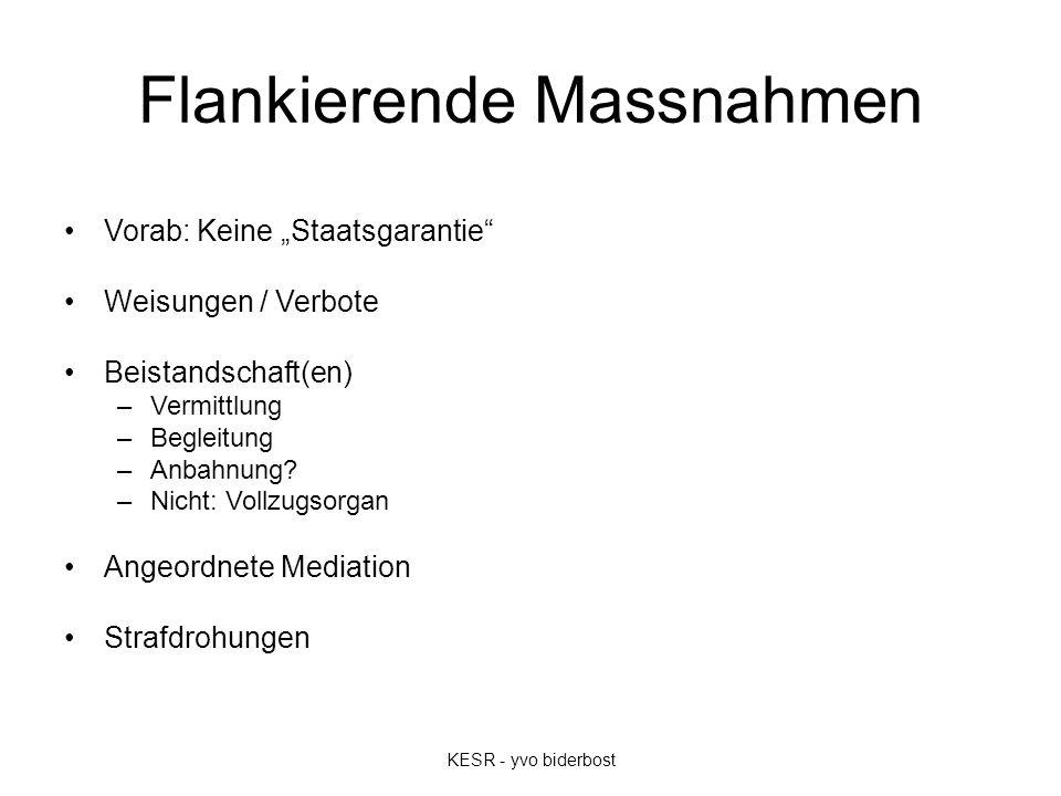"""Flankierende Massnahmen Vorab: Keine """"Staatsgarantie Weisungen / Verbote Beistandschaft(en) –Vermittlung –Begleitung –Anbahnung."""