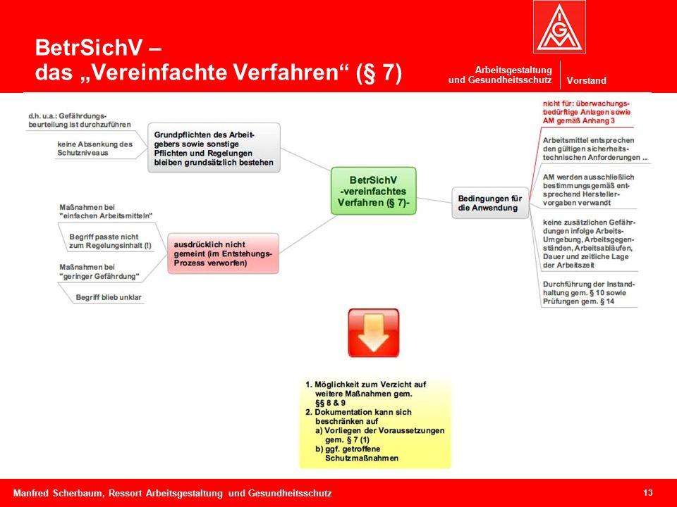 """Vorstand Arbeitsgestaltung und Gesundheitsschutz 13 Manfred Scherbaum, Ressort Arbeitsgestaltung und Gesundheitsschutz BetrSichV – das """"Vereinfachte Verfahren (§ 7)"""