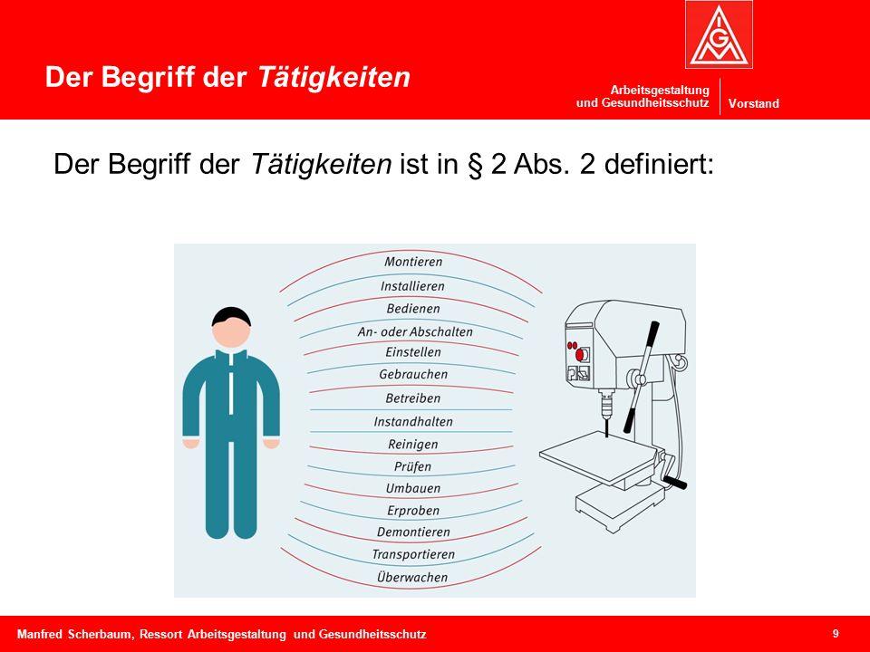 Vorstand Arbeitsgestaltung und Gesundheitsschutz 9 Manfred Scherbaum, Ressort Arbeitsgestaltung und Gesundheitsschutz Der Begriff der Tätigkeiten Der Begriff der Tätigkeiten ist in § 2 Abs.