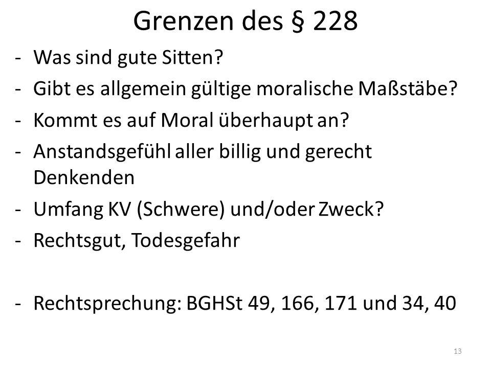 Grenzen des § 228 -Was sind gute Sitten. -Gibt es allgemein gültige moralische Maßstäbe.