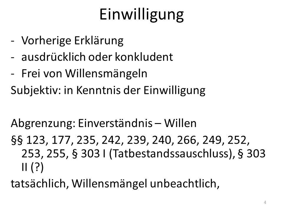 Einwilligung -Vorherige Erklärung -ausdrücklich oder konkludent -Frei von Willensmängeln Subjektiv: in Kenntnis der Einwilligung Abgrenzung: Einverständnis – Willen §§ 123, 177, 235, 242, 239, 240, 266, 249, 252, 253, 255, § 303 I (Tatbestandssauschluss), § 303 II (?) tatsächlich, Willensmängel unbeachtlich, 4