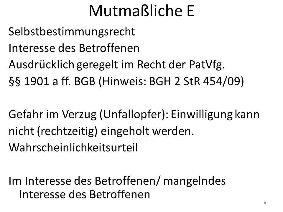 Hypothetische E -≠ mutmaßliche E -Vgl.