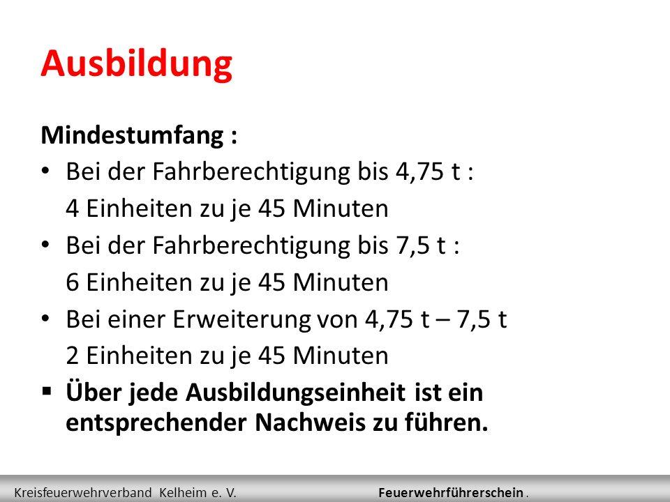 Ablauf  Ausbildung  Prüfung Kreisfeuerwehrverband Kelheim e.