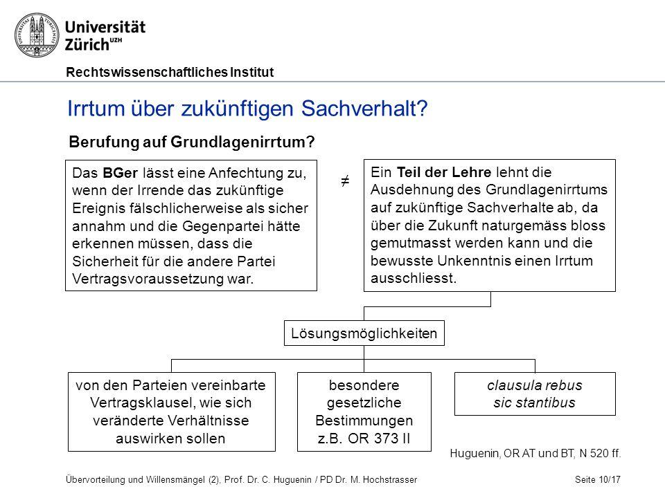 Rechtswissenschaftliches Institut Seite 10/17 Berufung auf Grundlagenirrtum.