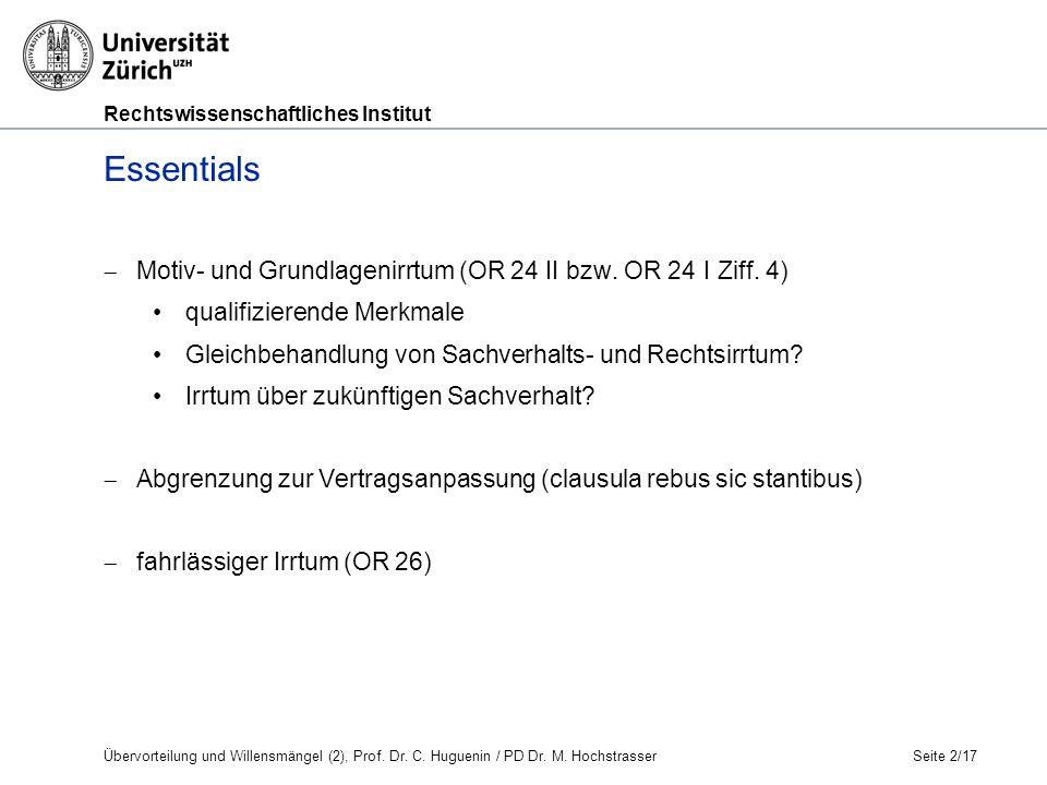 Rechtswissenschaftliches Institut Übervorteilung und Willensmängel (2), Prof.