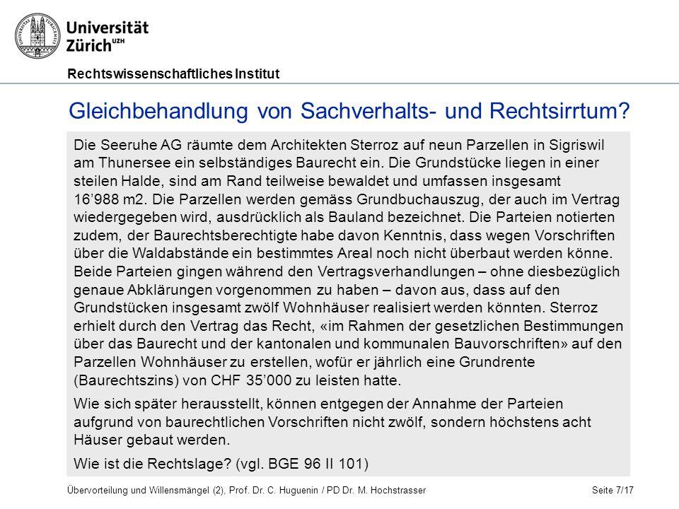 Rechtswissenschaftliches Institut Seite 7/17 Die Seeruhe AG räumte dem Architekten Sterroz auf neun Parzellen in Sigriswil am Thunersee ein selbständiges Baurecht ein.