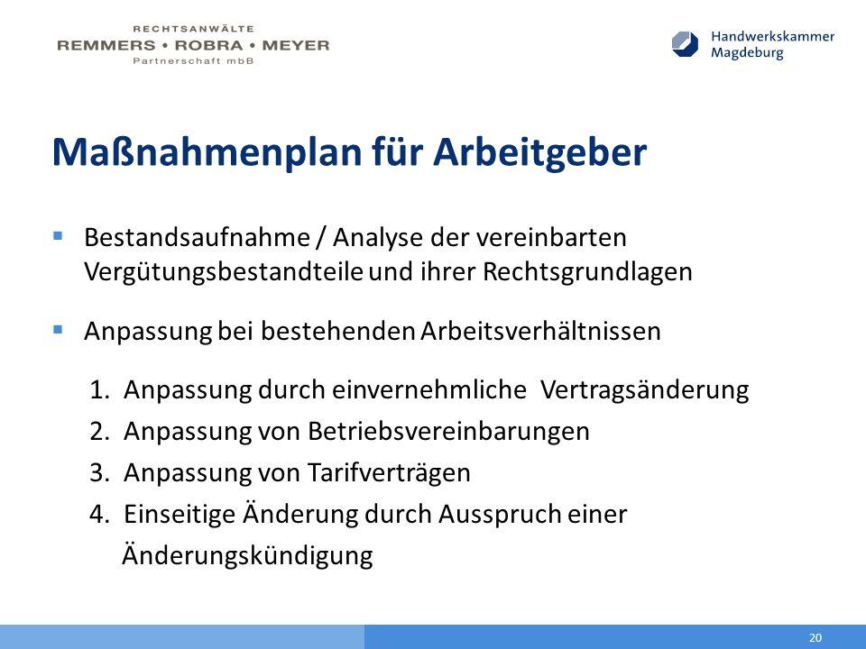 Maßnahmenplan für Arbeitgeber  Bestandsaufnahme / Analyse der vereinbarten Vergütungsbestandteile und ihrer Rechtsgrundlagen  Anpassung bei bestehen