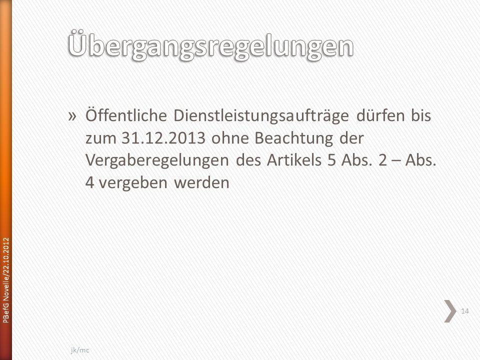 » Öffentliche Dienstleistungsaufträge dürfen bis zum 31.12.2013 ohne Beachtung der Vergaberegelungen des Artikels 5 Abs.