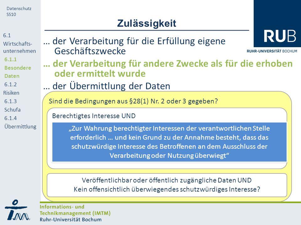 RUB Datenschutz SS10 Weitere Zulässigkeit für Übermittlung 6.1 Wirtschafts- unternehmen 6.1.1 Besondere Daten 6.1.2 Risiken 6.1.3 Schufa 6.1.4 Übermittlung Ist eine der folgenden Aktivitäten vorzunehmen.