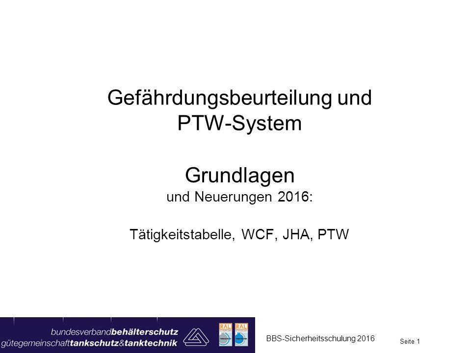 Gefährdungsbeurteilung und PTW-System Grundlagen und Neuerungen 2016: Tätigkeitstabelle, WCF, JHA, PTW Seite 1 BBS-Sicherheitsschulung 2016