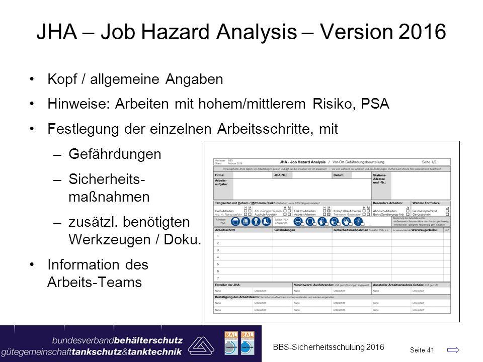 JHA – Job Hazard Analysis – Version 2016 BBS-Sicherheitsschulung 2016 Seite 41 Kopf / allgemeine Angaben Hinweise: Arbeiten mit hohem/mittlerem Risiko, PSA Festlegung der einzelnen Arbeitsschritte, mit –Gefährdungen –Sicherheits- maßnahmen –zusätzl.