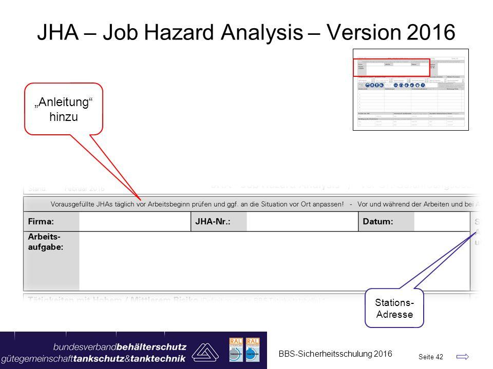 """BBS-Sicherheitsschulung 2016 Seite 42 JHA – Job Hazard Analysis – Version 2016 """"Anleitung hinzu Stations- Adresse"""