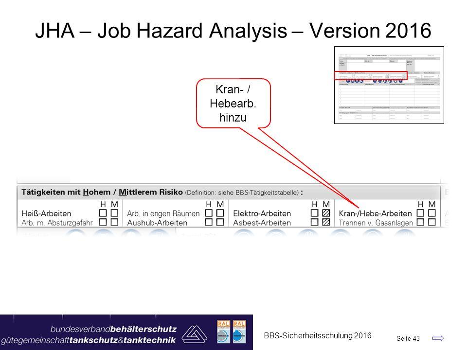 BBS-Sicherheitsschulung 2016 Seite 43 JHA – Job Hazard Analysis – Version 2016 Kran- / Hebearb. hinzu