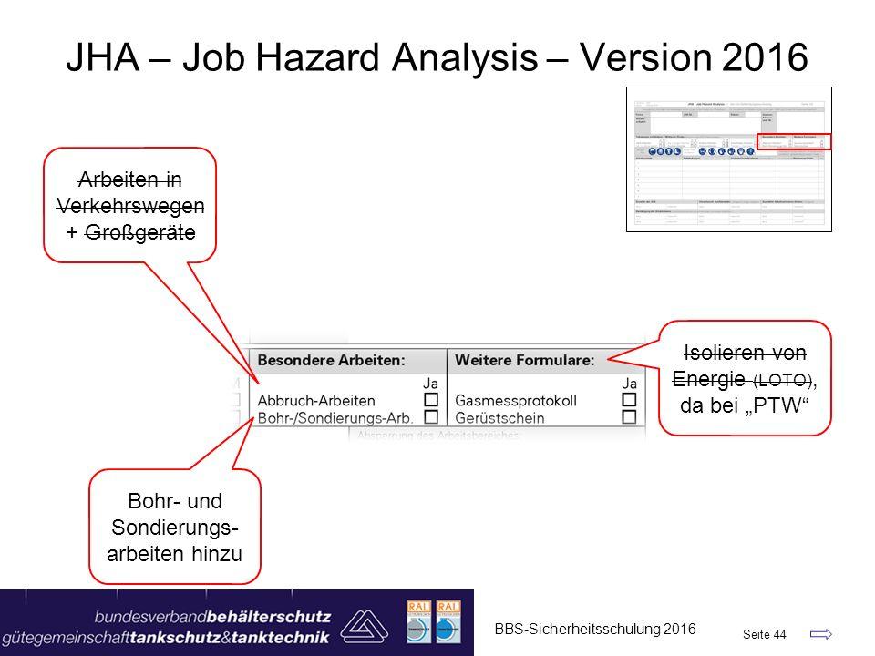 """BBS-Sicherheitsschulung 2016 Seite 44 JHA – Job Hazard Analysis – Version 2016 Arbeiten in Verkehrswegen + Großgeräte Bohr- und Sondierungs- arbeiten hinzu Isolieren von Energie (LOTO), da bei """"PTW"""