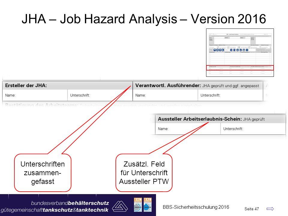 BBS-Sicherheitsschulung 2016 Seite 47 JHA – Job Hazard Analysis – Version 2016 Unterschriften zusammen- gefasst Zusätzl. Feld für Unterschrift Ausstel