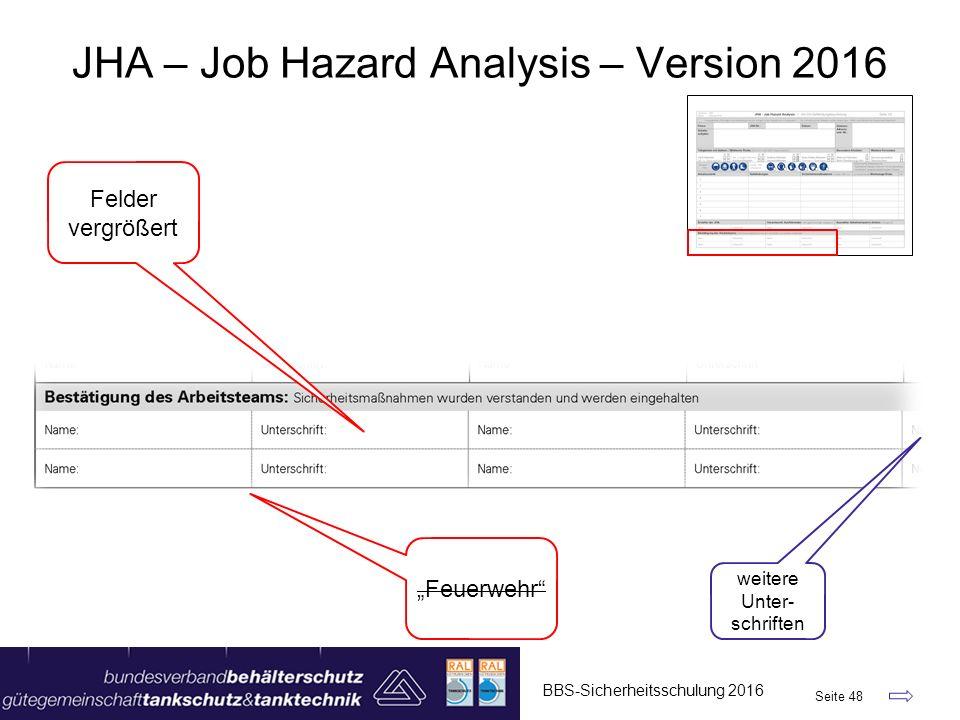 """BBS-Sicherheitsschulung 2016 Seite 48 JHA – Job Hazard Analysis – Version 2016 Felder vergrößert """"Feuerwehr"""" weitere Unter- schriften"""
