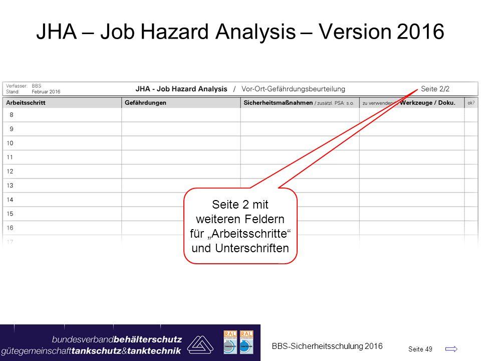 """BBS-Sicherheitsschulung 2016 Seite 49 JHA – Job Hazard Analysis – Version 2016 Seite 2 mit weiteren Feldern für """"Arbeitsschritte"""" und Unterschriften"""