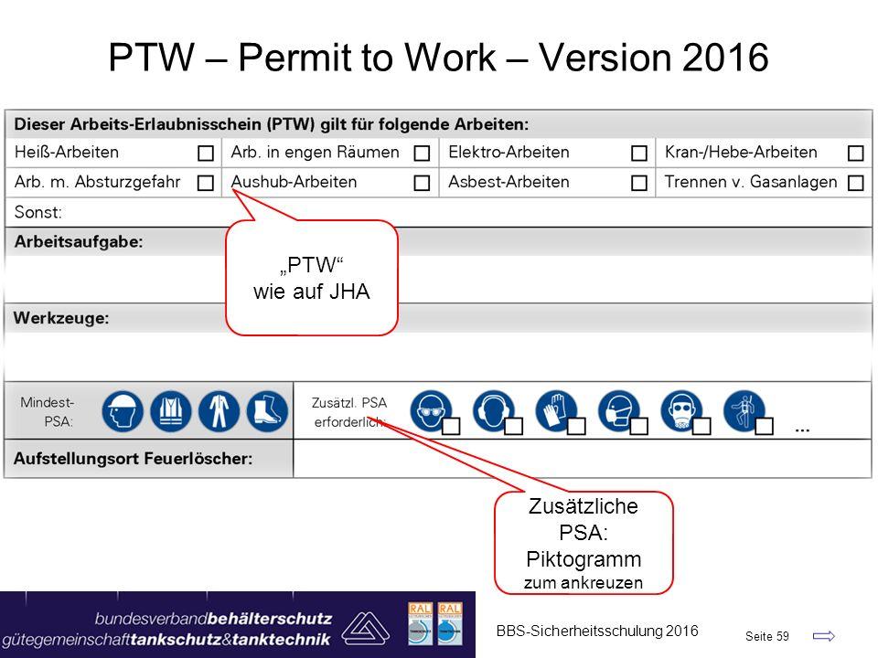 """BBS-Sicherheitsschulung 2016 Seite 59 PTW – Permit to Work – Version 2016 """"PTW"""" wie auf JHA Zusätzliche PSA: Piktogramm zum ankreuzen"""