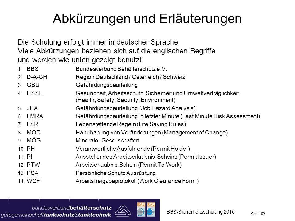 Die Schulung erfolgt immer in deutscher Sprache. Viele Abkürzungen beziehen sich auf die englischen Begriffe und werden wie unten gezeigt benutzt 1. B