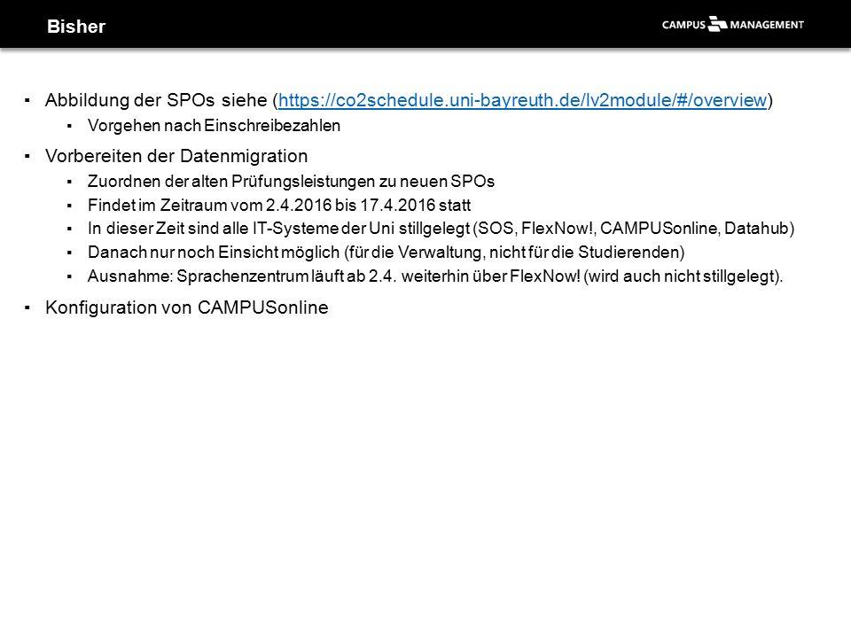 ▪Abbildung der SPOs siehe (https://co2schedule.uni-bayreuth.de/lv2module/#/overview)https://co2schedule.uni-bayreuth.de/lv2module/#/overview ▪Vorgehen