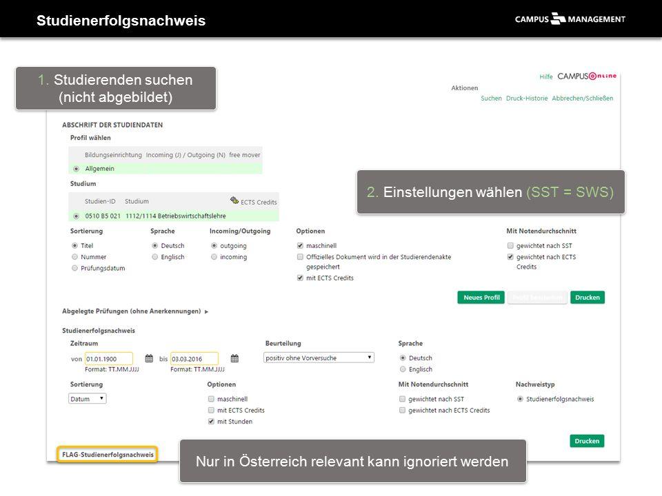 Studienerfolgsnachweis 1. Studierenden suchen (nicht abgebildet) 2. Einstellungen wählen (SST = SWS) Nur in Österreich relevant kann ignoriert werden
