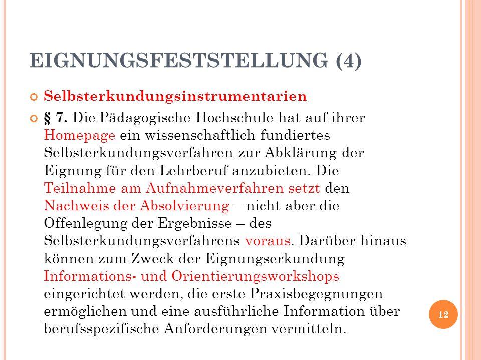 Selbsterkundungsinstrumentarien § 7.