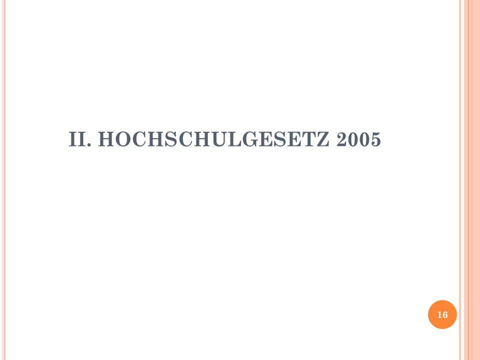 II. HOCHSCHULGESETZ 2005 16
