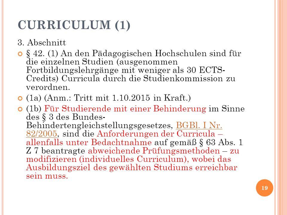 CURRICULUM (1) 3. Abschnitt § 42.