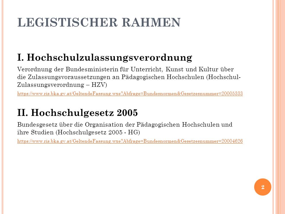 I. HOCHSCHULZULASSUNGSVERORDNUNG 3